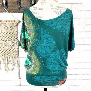 Desigual Floral print Green shirt size large
